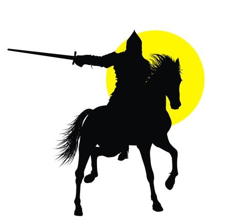 uomo a cavallo: Cavaliere con spada a cavallo sulla silhouette vettoriali dettagliate cavallo