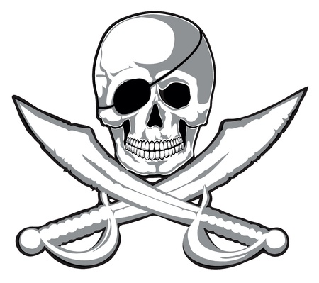 Smiling skull and two pirate swords isolated  Vector on separate layers Illustration