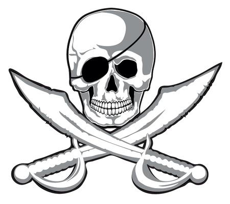 isla del tesoro: Sonriendo cráneo del pirata y dos espadas Vector aislado en capas separadas