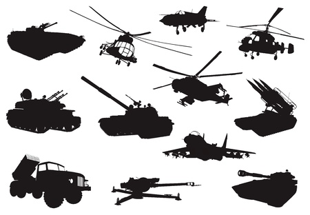 cold war: High detailed military silhouettes set  Vector