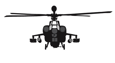 Mi-28 Havoc attack helicopter vector silhouette Stock Vector - 19203987