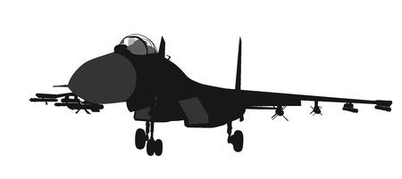 avion de chasse: Su-35 de combat vecteur silhouette de l'avion russe Illustration