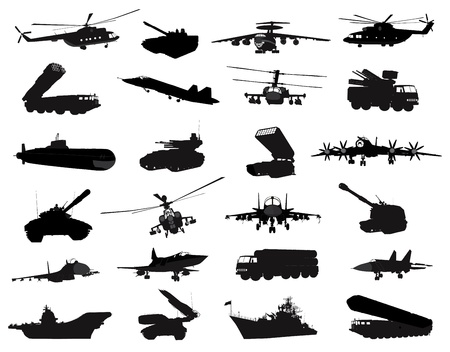 Detailed weapon silhouettes set  イラスト・ベクター素材