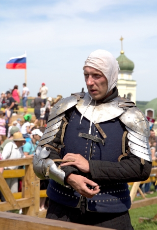 KHOTYN - MAY 10: Unidentified knight during Festival Medieval Khotyn on May 10, 2013, Ukraine
