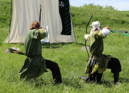 KHOTYN - MAY 10: Unidentified archers during Festival Medieval Khotyn on May 10, 2013, Ukraine