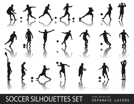 football kick: Soccer players detailed silhouettes set  Sports design Illustration