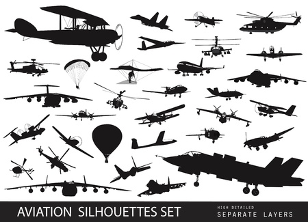 Vintage and modern aircraft silhouettes collection  Vector on separate layers