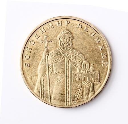 crist: Ukrainian money isolated  One hryvnia coin with Volodymyr the Great  Averse Stock Photo