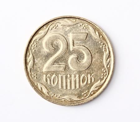 kopek: Ukrainian money isolated  25 kopek coin  Reverse
