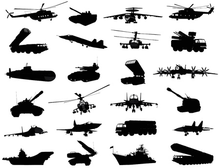 Detailed weapon silhouettes set  Vector on separate layers  イラスト・ベクター素材