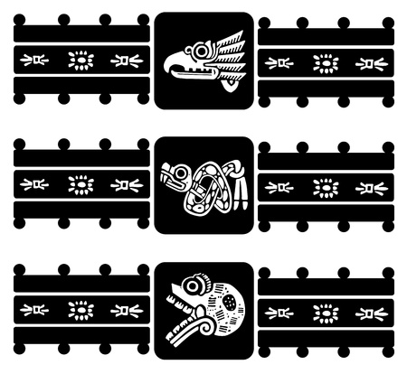 Mexican tribal symbols set.  Vector