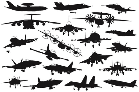 Military aircraft silhouettes collection  Vector on separate layers