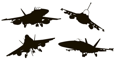 bombing: Military aircraft  silhouettes  collection.