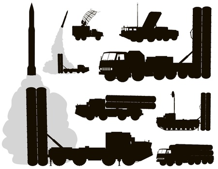 Anti-aircraft warfare silhouettes set#2. Vector on separate layers