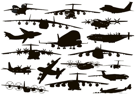 military background: Transport aircraft silhouettes collection. Vector EPS 8