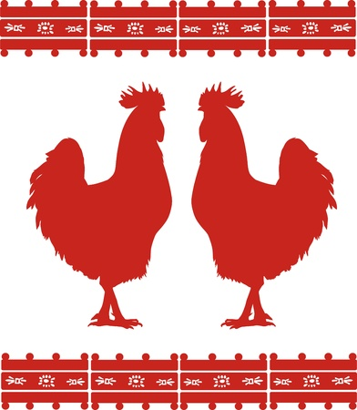 Two cocks silhouettes with mexican ornament. EPS 8 Vector