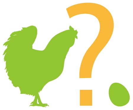 chicken and egg: Chicken, egg, question mark. Vector silhouettes. EPS 8 Illustration