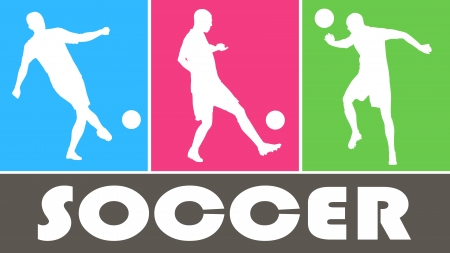 Soccer players  vector silhouettes on color background. Sports design Stock Vector - 22924601