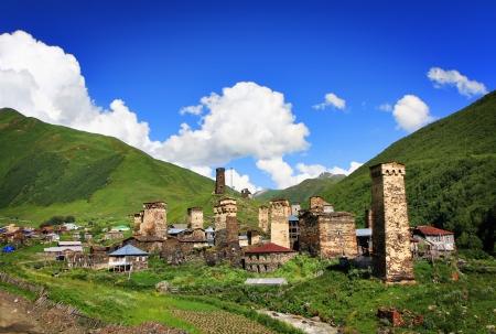 ushguli: Village with old towers in mountains. Svanetia. Ushguli. Georgia