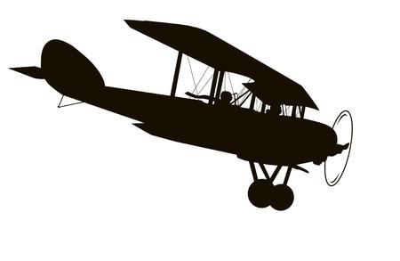 Vintage biplane vector silhouette