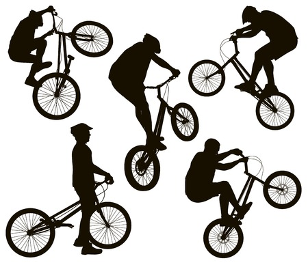 Bike trick detailed vector silhouettes set. Sports design Vector