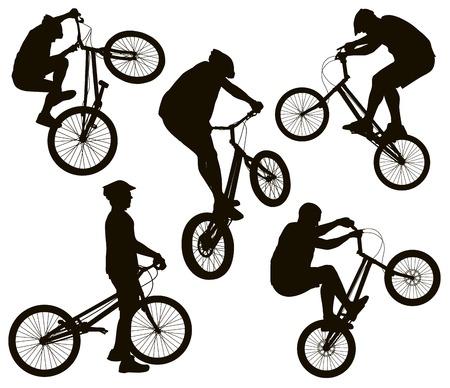 bicicleta vector: Truco detallada vector siluetas de bicicletas establecidos. Diseño de los deportes