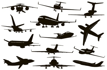 aircraft landing: Aircrafts detailed silhouettes set. Vector