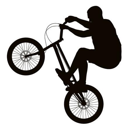 bicicleta vector: Bike trick silueta del vector detallada. Diseño de los deportes