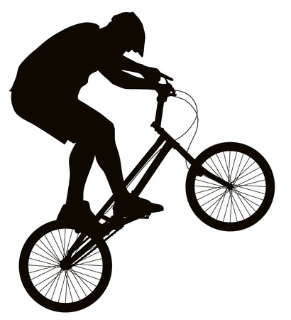 one wheel bike: Bike trick detailed vector silhouette. Sports design Illustration