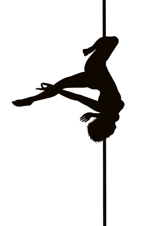 Pole dancer woman vector silhouette. Separate layers Vector