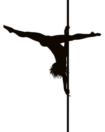 Pole dancer silhouette de vecteur de femme. S�parer les couches