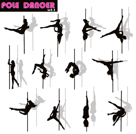 Pole dancer woman vector silhouettes set. Separate layers 矢量图像