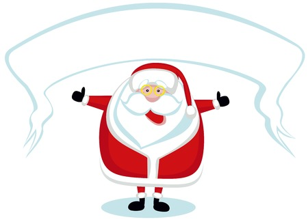 Smiling Santa with banner showing thumbs up Vector