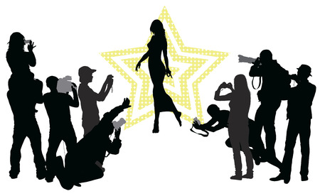 paparazzi: Group of people with camera and elegant woman. Vector silhouettes Illustration