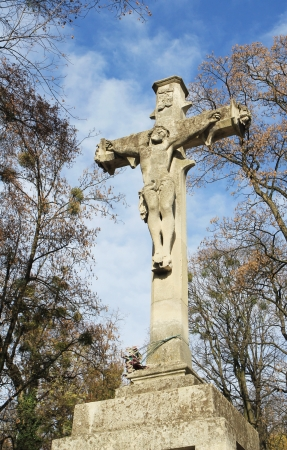 Jesus Crist statue on cemetery. Lviv photo