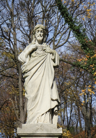 crist: Jesus Crist statue on cemetery. Lviv
