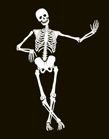 Funny vector skeleton isolated over black. Halloween design Ilustração