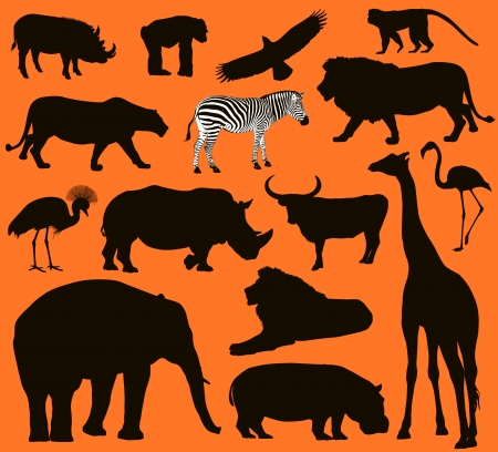 African animals silhouettes set. Vector illustration. EPS 10 Vector