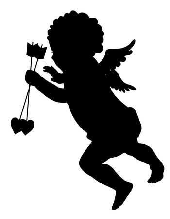 st valentin: Cupid with arrows silhouette