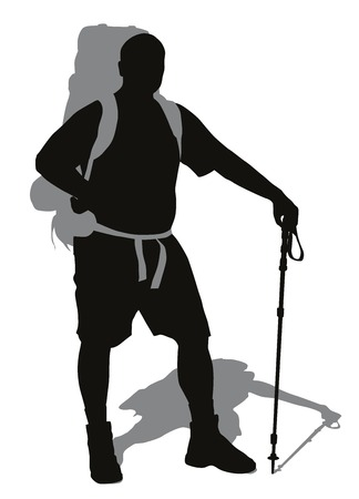 trekking pole: Man with backpack and trekking pole posing  Vector silhouette Illustration