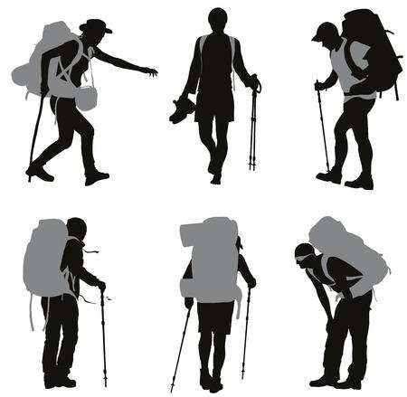 Las personas con siluetas mochila establecen Foto de archivo - 26081789