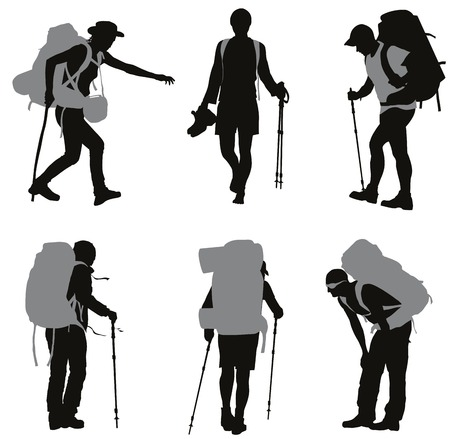 People with backpack silhouettes set Stock Vector - 26081789
