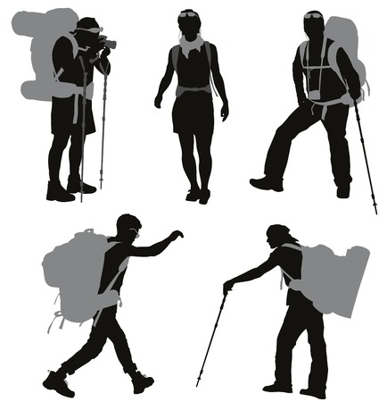 walking trail: People with backpack silhouettes set