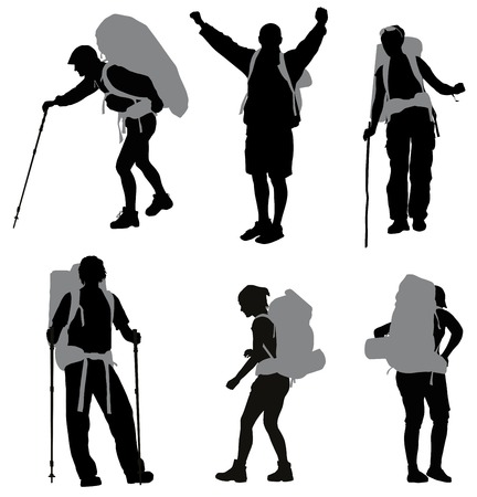 hiker: People with backpack silhouettes set