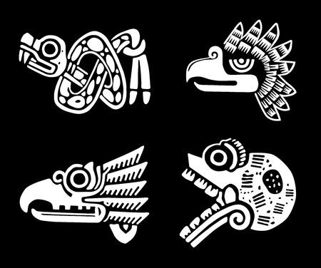Mexican tribal symbols set