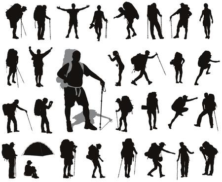 Mensen met een rugzak silhouetten