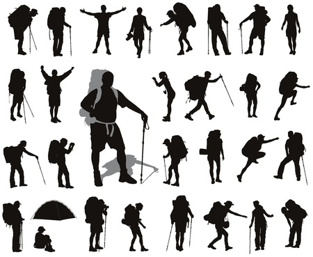 backpackers: People with backpack silhouettes set