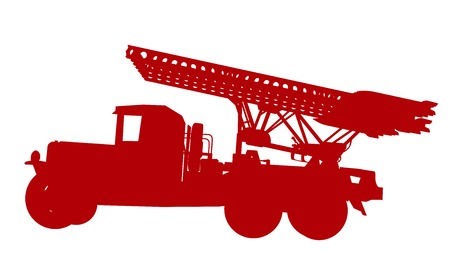 allied: Russian WW2 rocket launcher BM-13 Katyusha. Vector silhouette Illustration