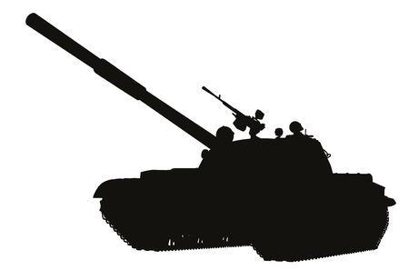 tanque de guerra: Tank detalla silueta. Vector en capas separadas Vectores