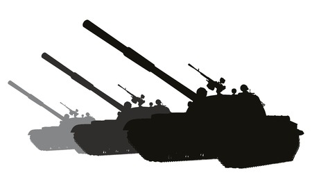 Tanks detailed silhouette. Vector on separate layers Stock Vector - 27529552